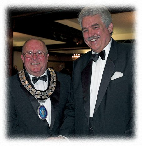 Dave with Mayor Richard Davies after MC'ing the Annual Mayors ball in Fishguard